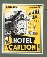RARE Hotel luggage label FRANCE Carlton Annecy  #329