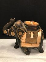 WOOD CARVED ELEPHANT FIGURINE WITH INLAID AND BRASS TRUNK UP 7'' LONG