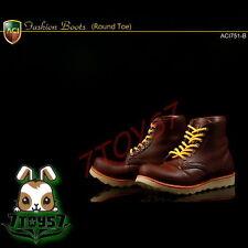 ACI Toys 1/6 ACI751-B Fashion Boots Round Toe_ Deep Brown boots _Bid AT070B