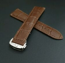 OMEGA WATCH BAND BROWN GENUINE LEATHER STRAP DEPLOYMENT CLASP BUCKLE MENS 22MM