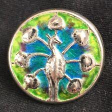 Stunning Liberty & Co CYMRIC Art Nouveau Sterling Silver Enamel Peacock Button