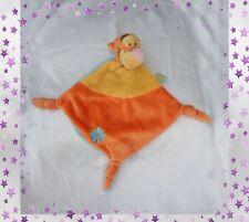 Doudou Peluche Plat Tigrou Orange Et Jaune Bleu Broderie Fleur Disney Baby