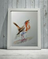 Large ORIGINAL new signed watercolour ART PAINTING of a Robin bird nature