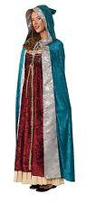 Renaissance Hooded Cape Costume Medieval Hooded Cloak LARP Halloween Fancy Blue