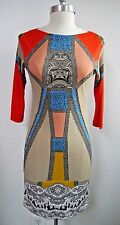 ETRO multi-color abstract print jersey knit dress Italian size 38 WORN ONCE