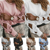 Baggy Pullover Tunic Long Sleeve Womens Sequin Hollow Shirt Tops Sweater Knit #8
