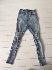 "Mens Geniune Sik Silk Designer Skinny Blue Distressed Ripped Jeans M Medium 32"""