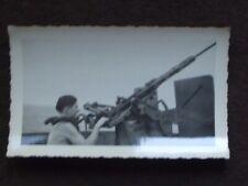 SHIRTLESS WW2 U.S NAVY SEAMAN AT TRIGGER OF 50 CAL. MACHINE GUN 1940's PHOTO #3
