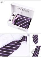 Krawatte Manschettenknöpfe Tuch Tie Clip,4 er Herren Geschenk Set Cufflinks (12)