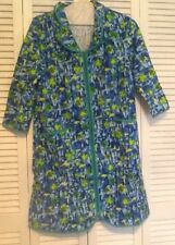 100% Cotton Women's Robe with Green Zipper Tree Leaves Foliage Nature Small