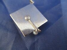 VINTAGE STERLING SILVER GRADUATION CAP WITH A PEARL TASSEL CHARM
