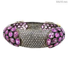Pink Sapphire Gemstone 14 K Gold Bangle 10.41ct Diamond Pave .925 Silver Jewelry