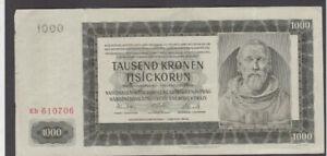1000 KORUN FINE BANKNOTE FROM BOHEMIA-MORAVIA/GERMAN OCCUPATION 1942 PICK-15