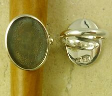 Solid Sterling Silver Adjustable Ring Finding 15MM x 20MM OVAL Bezel Setting