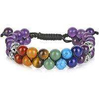 7 Chakra Healing Balance Crystal Bracelet Lava Yoga Reiki Stone Prayer Bangle