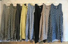 New Plus Size Linen Lagenlook Quirky SPOTTY Balloon Shaped Boho Tulip Dress 52""