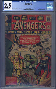 Avengers #1 CGC 2.5 Kirby, Origin & 1st Avengers, Fantastic Four, Iron Man, Thor