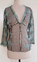 ANTHEA CRAWFORD Black/Aqua Sheer Lace Jacket/Cardigan/Top Size 8