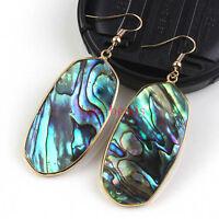 18K Gold Natural Abalone Shell Oval Shape Dangle Hook Women's Earrings Jewelry