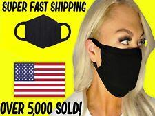 Face Mask DOUBLE LAYER Reusable & Washable Unisex SOFT BLACK COTTON HIGH QUALITY