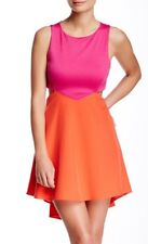 Donna Mizani Diamond Flounce Orange Fuchsia Dress Size Medium New With Tags NWT