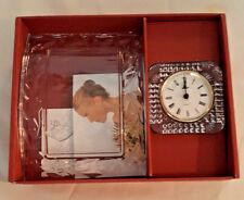 NIB Cristal d' Arques Clear Glass Crystal Petals 2pc Set Picture Frame & Clock