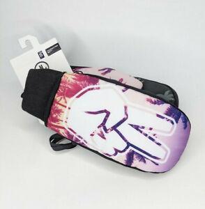 Neff Character Mitt Size S Pink Purple Snowboard Ski Mittens Gloves Peace Palms