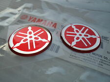 Yamaha Tuning Fork Stickers Decals x 2 RED DT MX YZ YZF Parts *** 40mm **