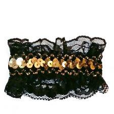 Barrette Pince à Cheveux Dorée noire fête noël soirée sequin pailettes dentelle