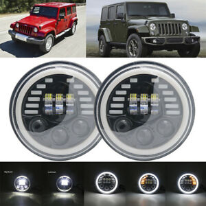 2pcs 7Inch LED Headlamps with Halo Ring Amber Turn Signal For Lada Niva Urban