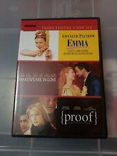 Emma/Shakespeare in Love/Proof (Dvd, 2010,  00006000 3-Disc Set)