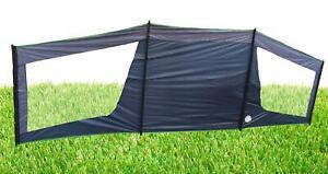 DELUXE WINDBREAK + LARGE CLEAR WINDOWS + METAL POLES in BAG camping caravan