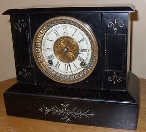 ANSONIA CAST IRON 8 DAY BLACK MANTLE CLOCK, RUNNING WELL, ca 1900