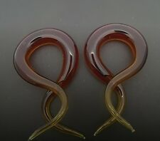 PYREX GLASS 6G 1 5/8 AMBER DOUBLE TWISTS PLUGS SPIRALS