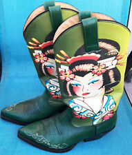 Vintage Llimited Edition ED HARDY GEISHA DRAGON TATTOO DESIGN Cowboy Boots 7-7.5