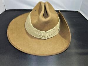 1978 Akubra Cattleman/C Khaki Brown Felt Hat Made in Australia Size 57