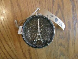 Pottery Barn Paris Silver Orb Glass Christmas Ornament - Eiffel Tower - New