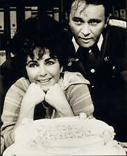 modern glossy photo of elizabeth taylor & richard burton. with birthday cake !