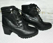 Mossimo Boots Women's 9.5 Heel Combat Punk Vegan Leather Zipper Laces Black