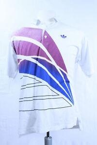 Adidas Polo Vintage Shirt weiß lila Aufdruck Herren 48