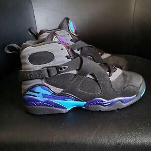 Jordan Retro 8 Aqua Youth Size 5y Black Basketball Shoes