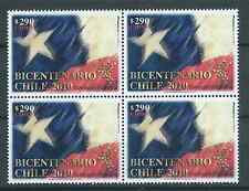 CHILE 2010 200 years Independence flag MNH block of 4