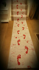 HALLOWEEN 4.5M BLOODY WHITE RED CARPET BLOOD FOOTPRINTS FLOOR RUNNER SCENE PARTY