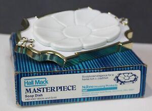 Vintage Hall Mack Masterpiece Soap Dish Holder White & Gold w/ Hardware Bathroom