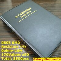 0805 1% SMD SMT Chip Resistors Assortment Kit 170Values x50 Assorted Sample Book