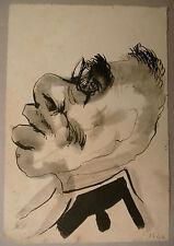 Peinture Original Aquarelle EDOUARD GOERG (1893-1969) Prortrait Homme EG25