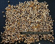 500 Crimps gold plated 2x1mm tube crimp beads attach clasps fps040