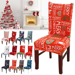 Christmas Chair Covers Slipcover Stretch Short Dining Chair Protector Cover Seat