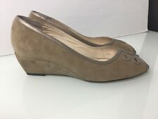 Van Dal Low Wedge Peep Toe Shoes In Sand Suede. Worn Once. Uk 6.5. VGC