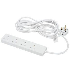 4 Way Gang Socket Power Mains Extension Lead 10M Metre Cable 13A Amps - White